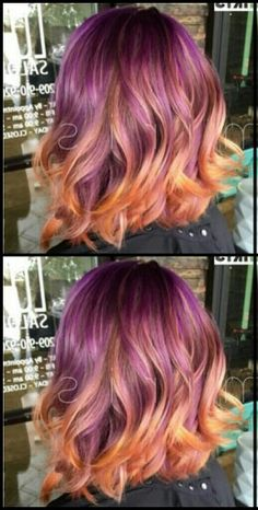 Purple and orange ombre dip dyed hair color