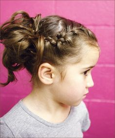 Braided pigtails with mushy buns....