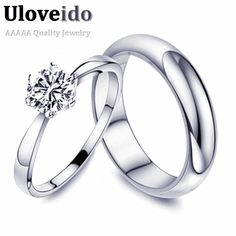 Find More Rings Information about Uloveido Fashion Couple Rings for Men and Women Wedding Band 2017 Silver Plated Finger Engagement Ring Jewelry Gift 15% off J063,High Quality engagement ring,China fashion engagement ring Suppliers, Cheap couple rings from D&C Fashion Jewelry Buy to Get a Free Gift on Aliexpress.com