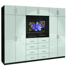 Aventa TV Wall Unit X-Tall - 10 Door Wardrobe Wall Unit for Bedrooms
