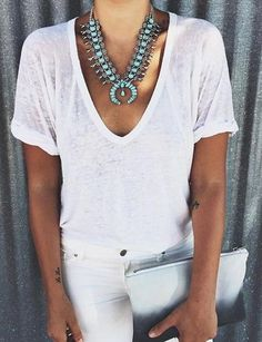all white. turquoise Carpi Amulet Collar necklace.