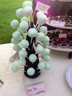 Mint cake pops for wedding shower!