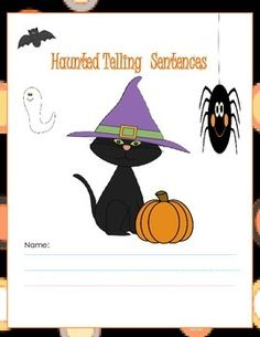 """This activity packet includes 7 pages.  A cover and 6 activity sheets.  It is a great thing to use in October for grammar class.  The children are asked to write a telling sentence on each page about Halloween characters (a cat, bat, and ghost).  There is also a """"to do"""" box on each page to help children to remember to put their periods at the end of their telling sentences."""