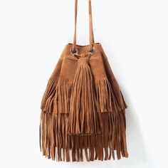 Image 1 of FRINGED SUEDE BUCKET BAG from Zara
