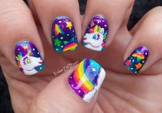 manicure inspired by Lisa Frank (unicorns and rainbows in mega brights)
