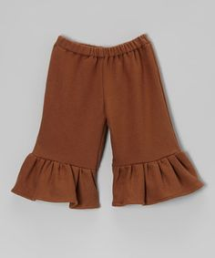 Look what I found on #zulily! Brown Fleece Ruffle Pants - Toddler & Girls by Sweet Petunia #zulilyfinds