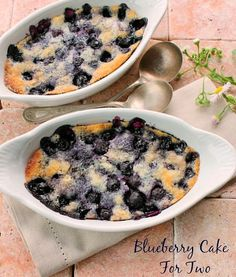 A Delicious Blueberry Cake for Two For Valentines Day You're going to love this delicious blueberry dessert that can be made in minutes. Top with a scoop of ice cream and you have a wonderful Valentines Day treat ( Recipe Can be Doubled or Tripled as well for more serving)