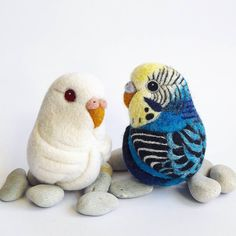 Budgies - from bright and highly detailed to simple and pure ♡  Every one unique.  Every one special. ~ Needle felted custom made budgie ornaments.