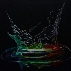 Water color drawing black paper