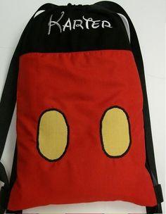 Disney String Drawstring Backpack for Toddlers Mickey Mouse Applique Pre-School Pre-K teamCBDC. $15.00, via Etsy.