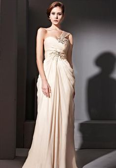 Apricot One-strap Beads Mermaid Design Party Dress   81050