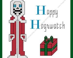 Discworld Inspired Hogswatch Cross Stitch  Card featuring Death - PDF Pattern