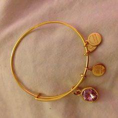 "Alex and Ani ""Bangle Bar"" April Birthstone Shiny-Silver Expandable Bracelet"