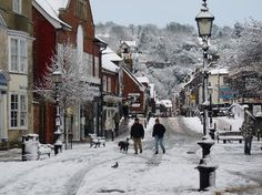 East Sussex, UK: Lewes High Street snowed