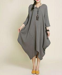 Robes, Kaki Coton Lin asymétrie Maxi Dress est une création orginale de camilleyuxi sur DaWanda