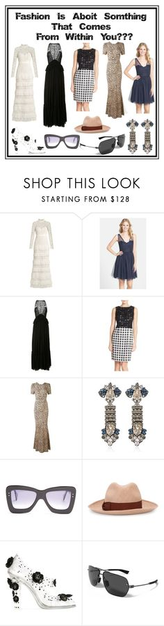 """""""Female Fantasy"""" by cate-jennifer ❤ liked on Polyvore featuring self-portrait, Monique Lhuillier, Givenchy, Ellen Tracy, Anton Heunis, Roksanda, Borsalino, Dolce&Gabbana and Under Armour"""
