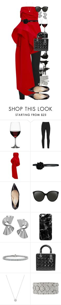 """""""Classy Christmas."""" by quiche ❤ liked on Polyvore featuring Spiegelau, Topshop Unique, Monique Lhuillier, Yves Saint Laurent, Manolo Blahnik, Linda Farrow, Humble Chic, Casetify, Blue Nile and Christian Dior"""