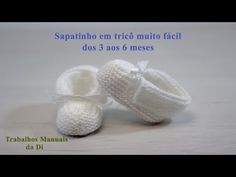 very easy knitting baby booties from 3 to 6 months Knitting For Kids, Easy Knitting, Knitting Patterns, Crochet Baby Shoes, Knit Crochet, Baby Booties, 6 Months, Lana, Crochet Projects