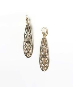 Look what I found on #zulily! Gold Filigree Cutout Oval Drop Earrings #zulilyfinds