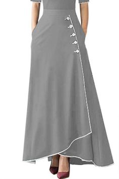 Grey Piped Button Embellished High Waist Maxi Skirt Source byWomens Casual Loose High Waist Side Button Extended Size Irregular Hem Solid Maxi Dress Skirts Grey US Size XL *** Find out more about the great product at the image link. Maxi Skirt Style, Dress Skirt, Maxi Skirt Outfits, Hijab Fashion, Fashion Dresses, Grey Fashion, Vintage Mode, Ladies Dress Design, Dress Patterns