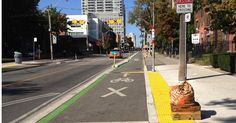 Installation of safe, separated bike infrastructure actually got people out of their cars. A 300% increase in cyclists on the street after the painted lanes were replaced with separated lanes. #movenaturally #bikeability #bike