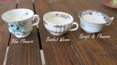 Vintage teacup candles, perfect for tabletops at vintage weddings