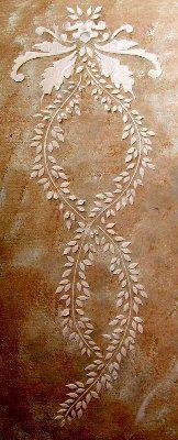 Raised Plaster Vertical Leaf Frieze Stencil