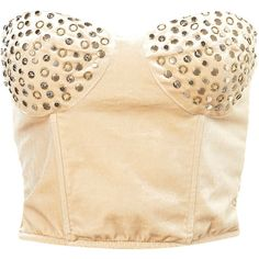 **Patricia Studded Bustier by Goldie ($84) ❤ liked on Polyvore