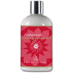ARMENIAN POMEGRANATE MOISTURIZING BODY LOTION 12 OZ  An all-natural moisturizing body lotion with an exclusive antioxidant blend of Açái berry, Oregon grape, red wine, green tea and Ghanaian wild crafted sheat butter plus  Vitamin D bioactive, and supportive of breast and prostate health in people of color. Scented with Persian pomegranates blended with passion fruit, melons, mango, pamplemousse, mandarin, guava, papaya and pear.  Item No:	SP429