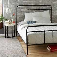 I think this bed would look great with the teal wall color, along with white or grey desk.  Paint Cat's dresser to match desk.  Tree decals on wall that bed is on.  Round or paper lantern lights strung from ceiling.  Imogene Metal Bed - Gunmetal #westelm sale $600