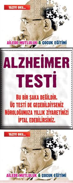 ALZHEIMER TEST This is not a joke. If you have passed all three tests, you can cancel your annual visit to your Neurologist. Pet Health, Health Care, Health Fitness, Alzheimer Test, Salmon And Broccoli, Diet And Nutrition, Health Remedies, Animals And Pets, Diy And Crafts