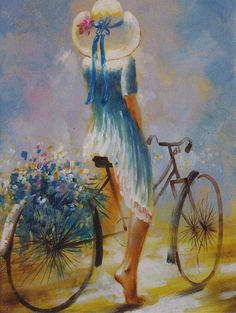 Girl with Blue Flowers bicycle art / artist ? Bicycle Painting, Bicycle Art, Art And Illustration, Beautiful Paintings, Painting Inspiration, Bathroom Inspiration, Painting & Drawing, Amazing Art, Watercolor Paintings