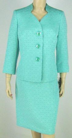 Le Suit Seafoam Green Jacket Blazer Skirt Suit $200 New 9244 #LeSuit #SkirtSuit