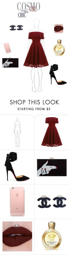 """cosmo girl"" by majasehimajasehic ❤ liked on Polyvore featuring Christian Louboutin, Charlotte Olympia, Chanel and Versace"