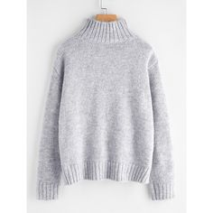 SheIn(sheinside) Marled Knit Stepped Hem Jumper (7.810 HUF) ❤ liked on Polyvore featuring tops, sweaters, turtleneck sweater, long sleeve jumper, long sleeve turtleneck, long sleeve pullover and gray turtleneck sweater