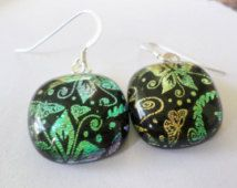 Dichroic Glass Earrings LILIES Cosmic Fused Glass Colorful Vibrant Mosaic Multi-color