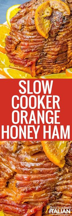 Slow Cooker Orange Glazed Ham is a delicious, easy, and completely crave-able recipe that is the hit at any holiday dinner! It is so easy it just about cooks itself. Best Slow Cooker, Crock Pot Slow Cooker, Crock Pot Cooking, Slow Cooker Recipes, Crockpot Recipes, Cooking Ham, Freezer Recipes, Country Cooking, Ham Recipes