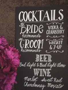 Wedding Bar Menu Chalkboard Sign - Personalized Wedding Menu - x Wedding Chalk Art, Chalkboard Wedding, Chalkboard Signs, Chalkboards, Cat Wedding, Woodsy Wedding, Cute Wedding Ideas, Dream Wedding, Wedding Reception Signs