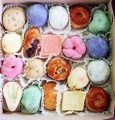 Mochi is Japanese rice cake made of mochigome, a short-grain japonica glutinous rice. The rice is pounded into paste and molded into the desired shape.  It is very popular in Hawaii and comes in many flavors and shapes.