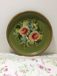 Vintage Metal Tole Tray - Serving Tray - Decorative Hand Painted Tray - Mid Century by littlewoodenhouse on Etsy