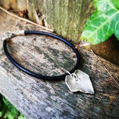 Leather sterling silver ivy charm bracelet £36.00