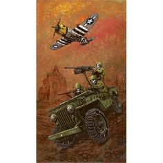 Brothers In Arms by David Lozeau Military Jeep Plane Canvas Art Print