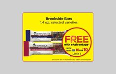 To get FREE Brookside Bars at Giant Eagle load the eCoupons to your Advantage card. NOTE: You'll need to log
