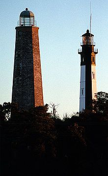 Old and New Cape Henry Lights - via List of Lighthouses in the United States