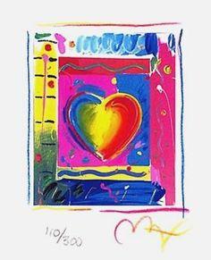 "Heart Series III, Ltd Ed Lithograph (Mini 5"" x 4""), Peter Max - SIGNED with COA"