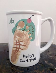 Ice Cream Cone Footprint Mug, baby footprints, personalized grandma christmas gift, hand and footprint art, baby's first christmas Fathers Day Art, Mothers Day Crafts For Kids, Fathers Day Crafts, Diy For Kids, Baby Fathers Day Gift, Daycare Crafts, Baby Crafts, Toddler Crafts, Kid Crafts