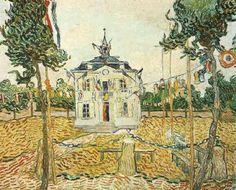 Page: Auvers Town Hall in 14 July 1890 Artist: Vincent van Gogh Completion Date: 1890 Place of Creation: Auvers-sur-oise, France Style: Post-Impressionism Genre: cityscape Technique: oil Material: canvas Dimensions: 93 x 72 cm Vincent Van Gogh, Art Van, Van Gogh Arte, Van Gogh Pinturas, Van Gogh Paintings, Dutch Painters, Post Impressionism, Dutch Artists, Oeuvre D'art
