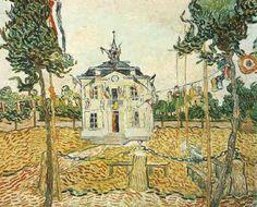 Page: Auvers Town Hall in 14 July 1890 Artist: Vincent van Gogh Completion Date: 1890 Place of Creation: Auvers-sur-oise, France Style: Post-Impressionism Genre: cityscape Technique: oil Material: canvas Dimensions: 93 x 72 cm Vincent Van Gogh, Van Gogh Arte, Van Gogh Pinturas, Van Gogh Paintings, Art Van, Dutch Painters, Post Impressionism, Dutch Artists, Western Art