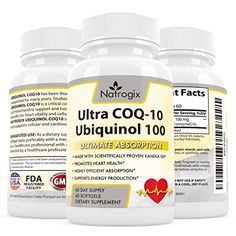 Highly Absorbable COQ-10 Ubiquinol 100mg Supplement (Kaneka UbiquinolTM) Active Form of Coenzyme Q10 Promotes Heart Health   Help Regulate Blood Pressure   Support Anti-Aging Formula (60 Softgel)
