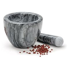 Truly a stunning mortar and pestle, it is more impressive in person than any picture can show! Beautiful grey marble with a natural matte finish. We sell many mortars & pestles, and this model has quickly advanced to the top of my list! Using a mortar & pestle is still considered the best way of